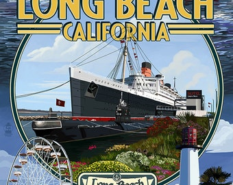 Long Beach, California - Montage 2 (Art Prints available in multiple sizes)