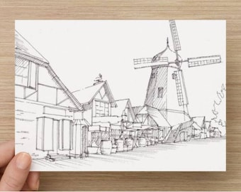 Ink Sketch of Windmill in Solvang, California - Drawing, Art, Architecture, European, Pen and Ink, 5x7, 8x10, Print