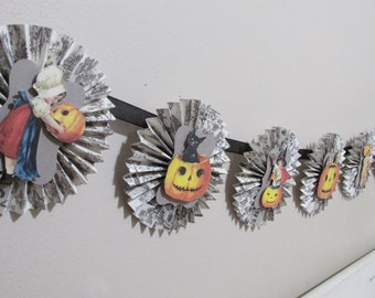 Halloween Banner, rosette garland, Jack-o-lantern, pumpkins, witches, black cats, hand made, OOAK,