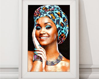 African Girl In Blue Headdress Print, African Wall Art, Colourful Home Pictures, Large Poster, Large Wall Art, Digital Print