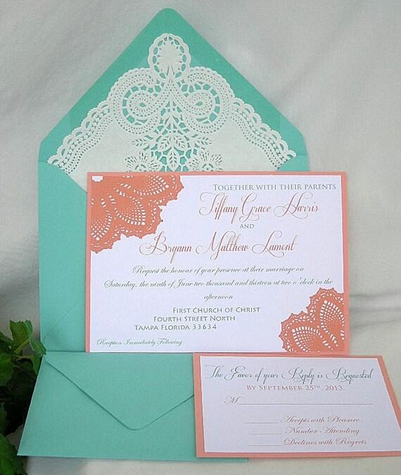 Coral Peach n Turquoise Blue Aqua Teal Blue Lace Wedding