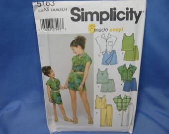 Simplicity 5163, Girls Summer Wardrobe Sewing Pattern, 7 - 14, uncut
