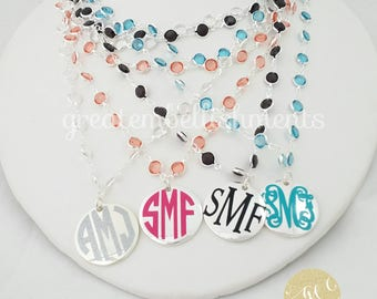 Crystal Two Layered Monogrammed Necklace, Monogrammed Necklace, Monogram Crystal Necklace, Mother's Day Gift