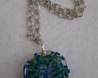 Tree wire worked necklace.
