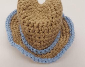 Crochet Baby Boy Cowboy Hat, Photography Prop Set, Sizes Newborn, 0-3 Months, and 3-6 Months - Lace & Light Blue