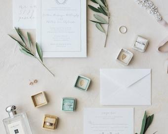 Elegant Invitation, Monogram Invitation, Olive Sprig Invitation, Organic Invitation, Classic Invitation Suite, Illustrated Map - DEPOSIT