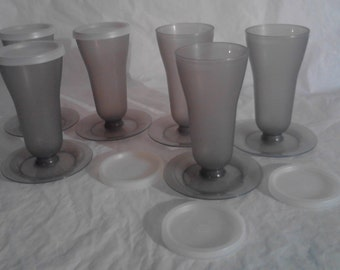 6 Vintage Tupperware Smoke Gray Parfait Cups w/Lids - 753/754/296