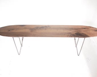 The Surf - Modern Walnut Bench with Geometric Steel Base - Minimalist Design - Boho Chic