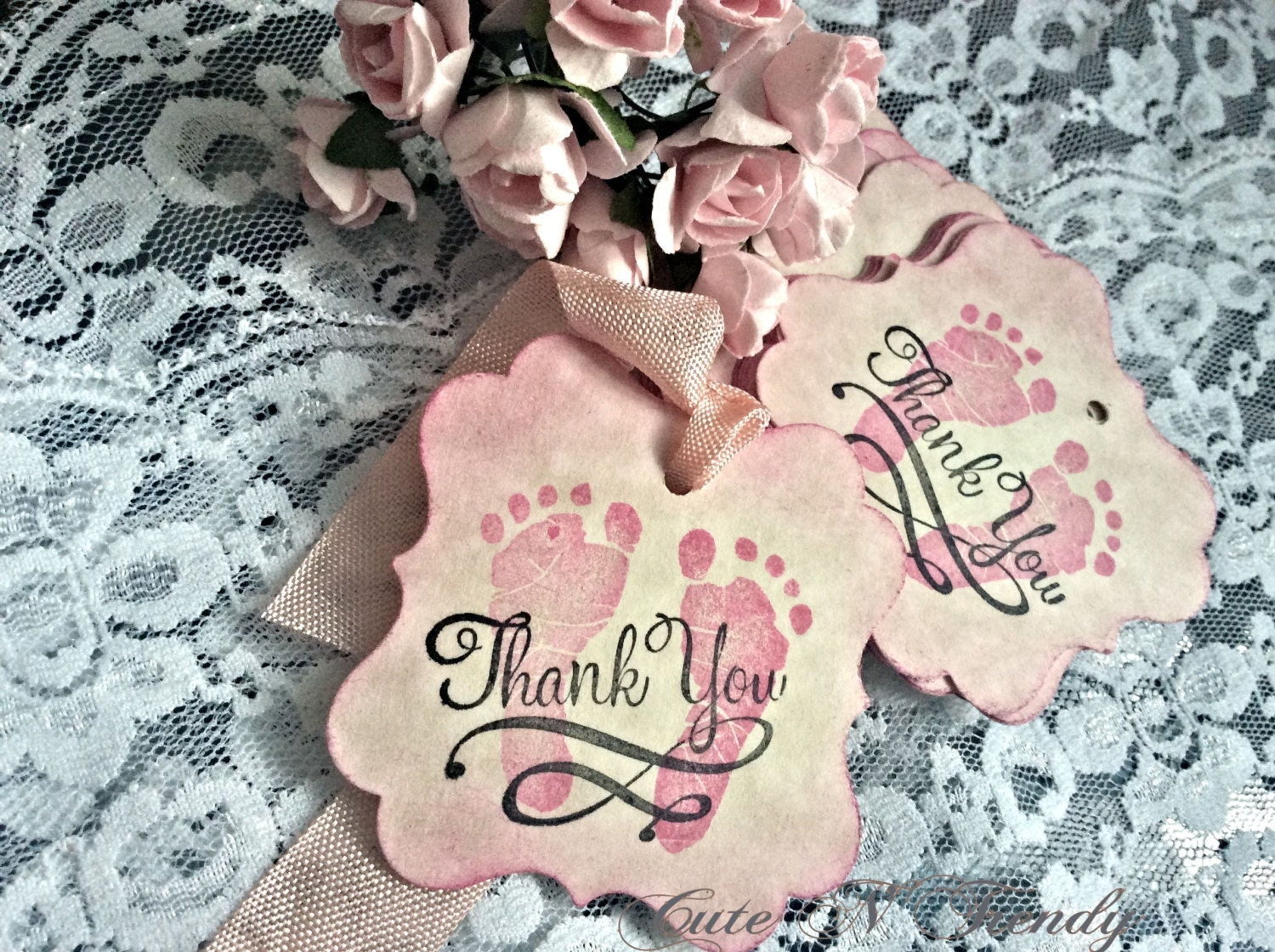 Baby Girl Thank you Gift Favor tags