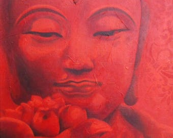 """Gift for mother's day - acrylic painting on canvas: Red Buddha (""""Scarlet"""" series)"""
