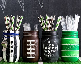 Football Mason Jars - Football Party Mason Jar Set - Painted & Distressed Mason Jars - Football Party
