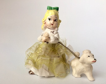 Vintage Girl and Poodle Figurine, 1950's Japan