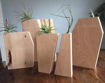 Handmade geometric wood planters, air plant planters, wooden planters, cherry planter