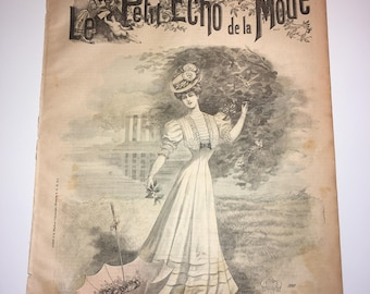 Antique fashion magazine,  Le petit echo de la mode, 1906 , french , edwardian , victorian , paper , gown