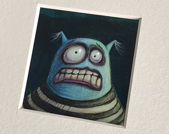 "NEW MINIATURE! ""Dune McShakes"", original miniature mixed media 2"" x 2"" matted to 6x6"" monster, silly, blue guy, illustration, painting"