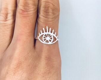 Silver Evil Eye Ring, Evil Eye Ring, Protection Ring, Evil Eye Jewelry, Silver Eye Ring, Sterling Silver Ring, Statement Ring, Boho Ring