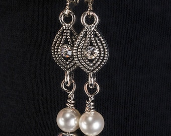 Handmade Gray and White Swarovski Pearl Earrings with Antiqued Silver Accents