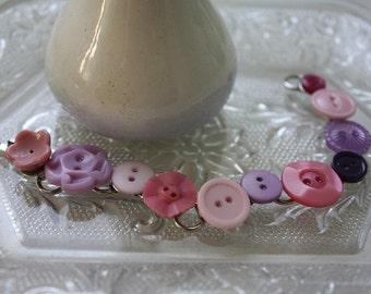 Vintage Button Bracelet in Pink and Lavender