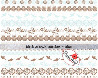 Birds & Owls Borders Blue: Digital Scrapbook Paper Pack (300 dpi) Wedding Bridal Baby Shower Floral Brown Green
