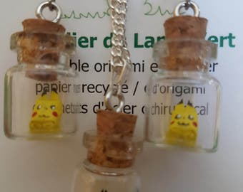 Origami pikachu in tiny glass bottle earrings and pendant set