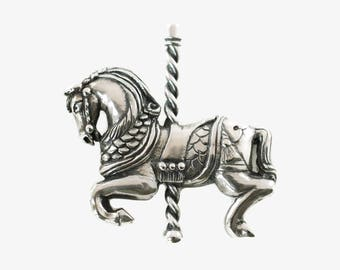 Vintage James Avery Sterling Silver Carousel Horse Brooch