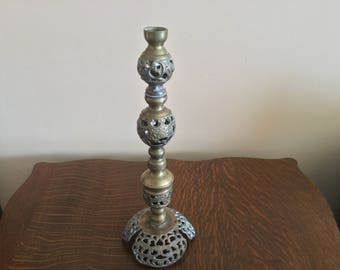 Large Ornate Pierced Brass Candlestick, Tall Brass candlestick,Vintage Brass candlestick