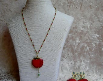 Gourmet Strawberry pendant necklace set
