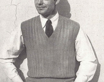 Ribbed Vest • 1940s Knitting Knit Sweater Sweatervest Pullover Jumper Top • 40s Vogue Vintage Pattern • Retro Men's Digital PDF