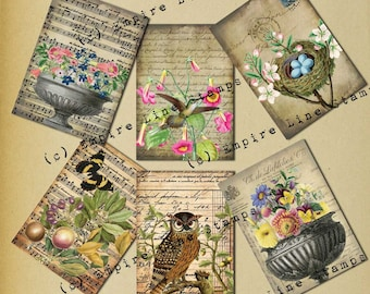 Shabby Collage Antique Style Gift Tags Instant Download Fruit Flowers Birds Music Handwriting Grunge Style