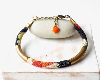 Kimono bracelet, Chirimen cord from Japan, Kimono fabric with traditional designs, designer jewelry, matte beads, sequin enamelled