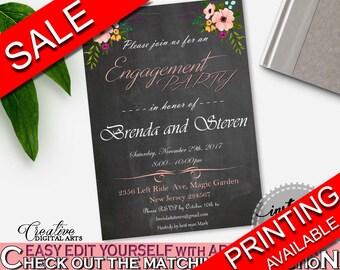 Engagement Party Invitation Bridal Shower Engagement Party Invitation Chalkboard Flowers Bridal Shower Engagement Party Invitation RBZRX
