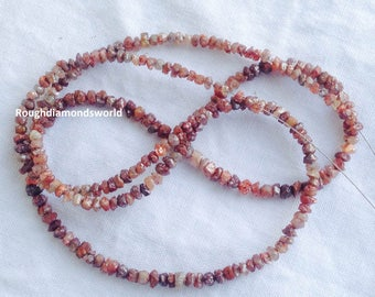 20 Carat 1 Full Strand Red Diamond Nuggets-- , Rough Diamond Beads, Raw Diamond Chips Beads 2mm-3mm 16inch long strand Necklace