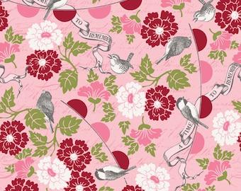 MAGASIN de vente - modèles de Riley Blake, de fermeture n'oubliez pas, fleurs et oiseaux, rose et rouge, Carina Gardner, 100 % coton, tissu patchwork, Quilting Floral