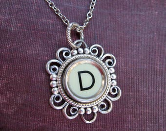 Antique Typewriter Key Necklace Initial D