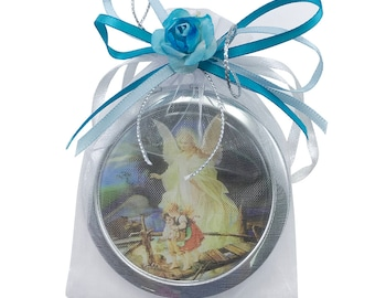Baptism Compact Mirror Favors for Boy (12pcs) -Bautizo Recuerdos / Guardian Angel Makeup Compact Mirrors with Decorated Pouches GG054-Blu-pg