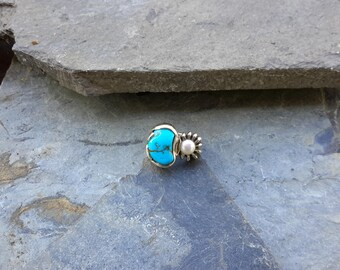 No. 108 Bisbee Turquoise and Pearl Ring .950 Sterling Silver
