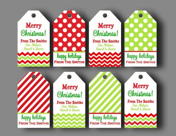 Personalized Christmas Gift Tags   Printable Or Printed With FREE SHIPPING    Chevron Polka Dot Christmas Gift Tag