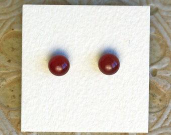 Fused Glass Earrings, Petite, Garnet Red DGE-1054