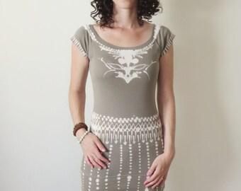 Boho tunic, hand drawn gray boho tunic, one of a kind tribal design boho chic top, bohemian