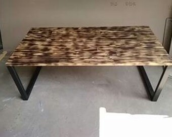 rectangular tube metal industrial coffee table