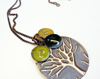Personalized Family Tree Necklace / Kids Initial Mom Necklace / Family Tree Jewelry / Gift For Her / Mother's Day Gift / Mom Custom Jewelry