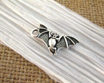 Britannia Pewter Bat Charm in Antique Fine Silver from Terracast