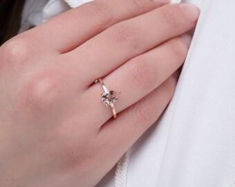 Morganite ring, Gold pear ring, Morganite pear ring, Promise ring, Trendy pear ring, Pear ring, Rose pear ring,