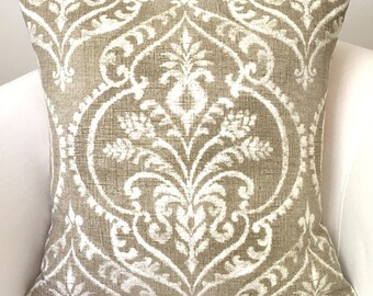 Neutral Pillow Cover Beige Pillow Throw Pillow Damask Pillow Accent Pillow Cushion