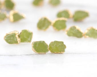 green peridot studs | raw peridot earrings | august birthstone studs | raw crystal earrings | natural peridot earrings | green stone studs