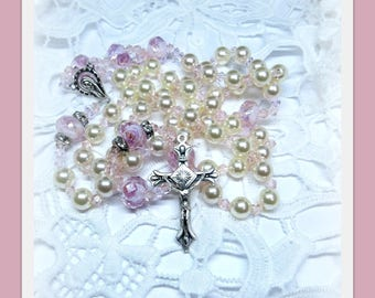 Ladies Rosary  five decade Rosary Necklace colors pink cream   glass rose