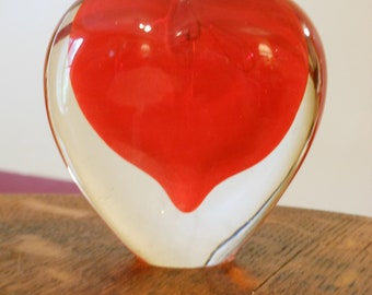 Red Apple Heart Glass Paper Weight