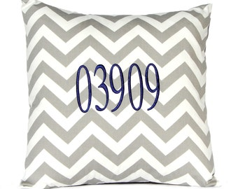 Zip Code Pillow - New Home Gift - Personalized Gift - Monogram Pillow Cover - Housewarming Gift - Chevron Cushion Cover - House Numbers