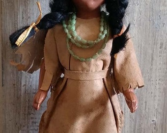 Antique celluloid/composition Native American princess doll 7""
