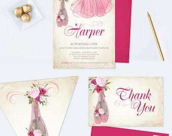 Ballerina Invitation, Ballerina Party, Editable PDF Invitation, Ballerina Birthday Invite, Girl First Birthday, Ballet Invitation